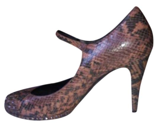 DKNY Tan/Brown/Black Snakeskin Pumps
