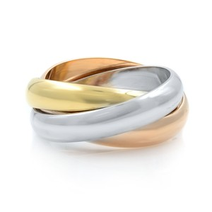 Cartier 18K White Yellow and Pink Gold Classic Trinity Ring Size 5.5
