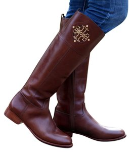 Tory Burch Kiernan Riding Leather 5 Almond Boots