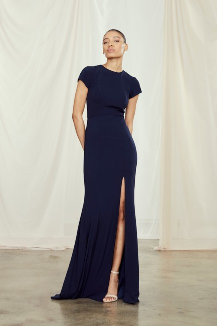 Item - French Blue (Navy) Crepe Harlee Gown (Never Worn) Modern Bridesmaid/Mob Dress Size 12 (L)
