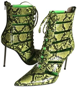 Jeffrey Campbell Lace Silver Spike Heel Leather Green Boots