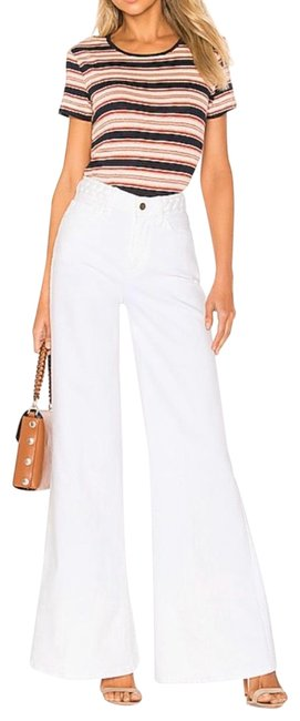 Item - White Light Wash Revolve Le Palazzo Braided Wide In Blanc Flare Leg Jeans Size 00 (XXS, 24)