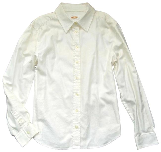 Item - Cream Solid Ivory 10p Button Up Collar Button Long Sleeve Button-down Top Size Petite 10 (M)