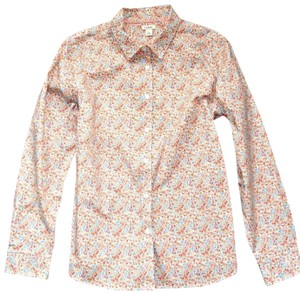 L.L.Bean Floral Delicate Flowers Longsleeve Cotton Button Down Shirt Peach