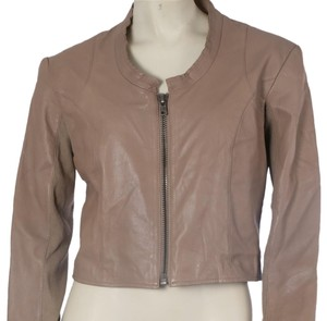 VEDA Casual Cropped Beige Leather Jacket
