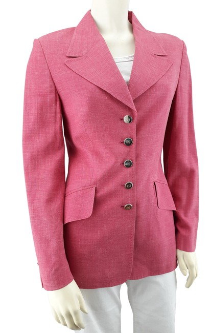 Item - Pink 5-button Traditional Lined Silk/Linen Blend Blazer Size 4 (S)