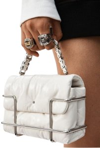 Alexander Wang Leather Chain Quilted Metal Basket White Clutch