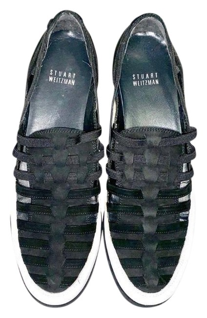 Item - Black & White Move-in Strappy Elastic Sneakers Size US 8.5 Regular (M, B)