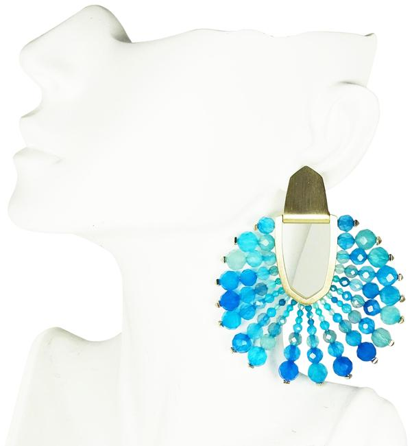 Item - Blue Diane Gold Plated Agate Statement Earrings