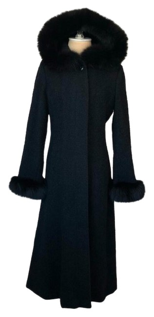 Item - Black Wool Blend Fox Trim Hooded Coat Size Petite 2 (XS)