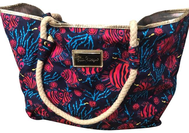 Item - Blue and Pink with Gold Accent Cloth Beach Bag