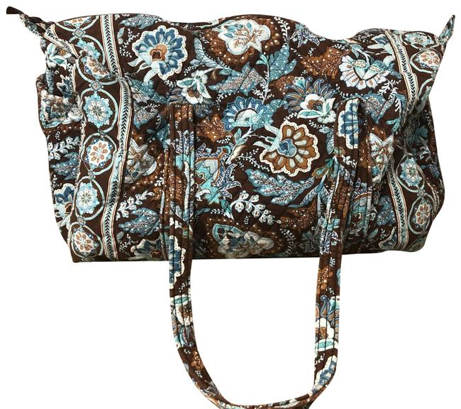 Item - Duffle Large Brown and Blue/ Teal Cloth Weekend/Travel Bag