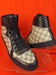 Gucci Beige Coda Blue Gg Canvas Croc Leather Sneakers 12.5/Us 13.5 #243827 Shoes