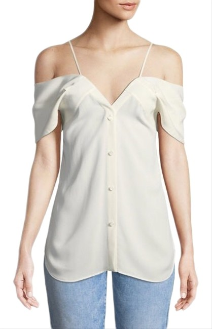 Item - White Silk Georgette Off The Shoulder Tank Blouse Size 8 (M)