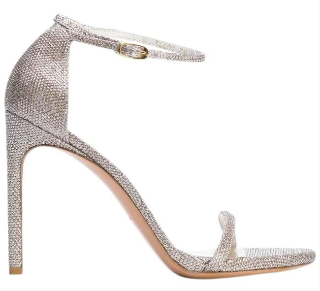 Item - Silver Metallic Nudist Single Band Ankle Strap Sandals Size US 7 Regular (M, B)