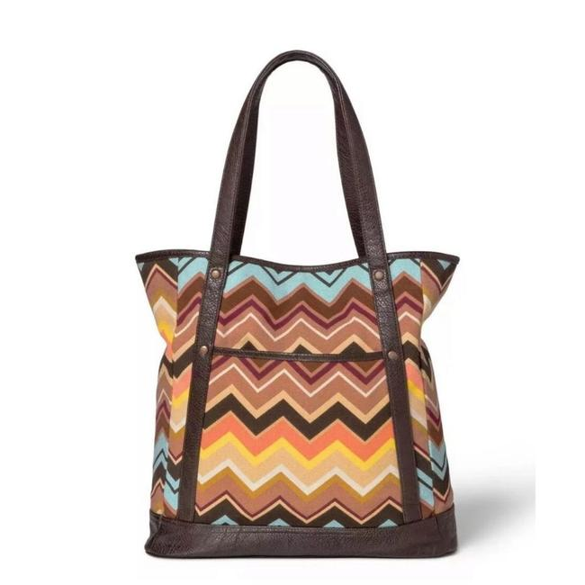 Item - Brown Large Canvas Zig Zag Tote