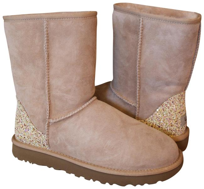Item - Beige Classic Short Suede Shearling Glitter Boots/Booties Size US 7 Regular (M, B)
