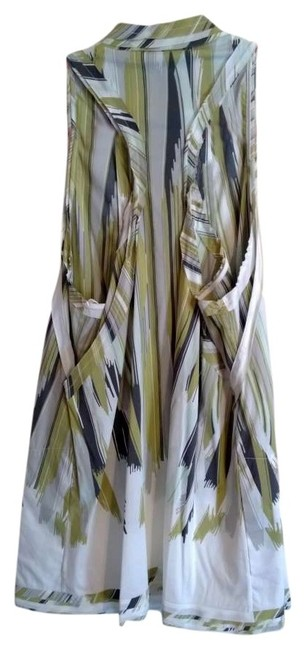 BCBGMAXAZRIA Top White, Gray, Yellow/Green