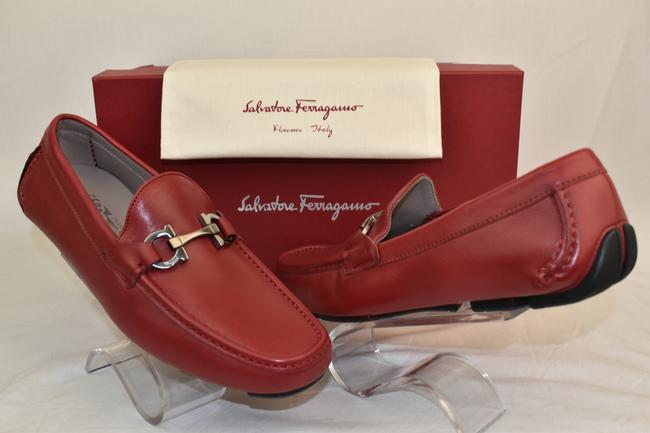 Salvatore Ferragamo Red Barlett Leather Gancini Bit Driving Loafers Us 11 E Shoes Salvatore Ferragamo Red Barlett Leather Gancini Bit Driving Loafers Us 11 E Shoes Image 1