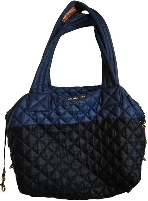 Item - Quilted with Cosmetic Inside Dark Blue Black Nylon Satchel
