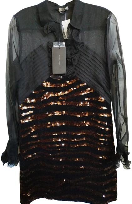 Item - Black Bronze 40(6) Fantastic Silk Sequined Mid-length Night Out Dress Size 6 (S)