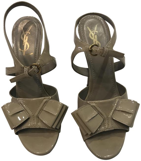 Item - Grey Ysl Patent Leather Sandals Size EU 38 (Approx. US 8) Regular (M, B)