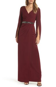 Adrianna Papell Red Faux Wrap Gown - Casual Wedding Dress Size 8 (M)
