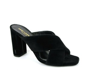 Saint Laurent Women's Velvet Loulou Black Sandals