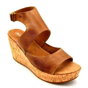 Antelope Leather Cut Out Wedge T Strap Brown Sandals