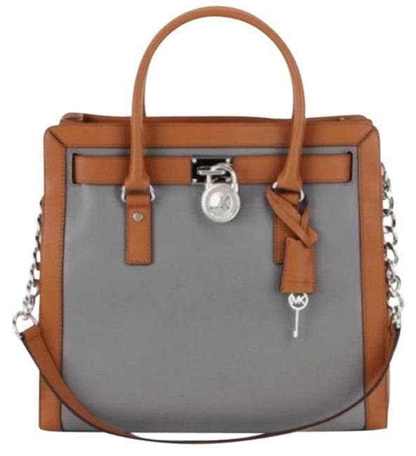 Item - Hamilton Frame Out Large Ns Colorblock 30f5shkt3t Steel Grey / Acorn Leather Tote