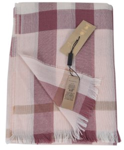 Burberry New Burberry Wool and Cashmere Pink Lightweight Nova Check Scarf