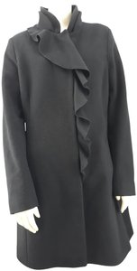 DKNY Wool Ruffle Snap Closure Long Trench Coat