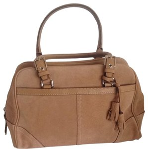 Coach Satchel in Light Brown Suede