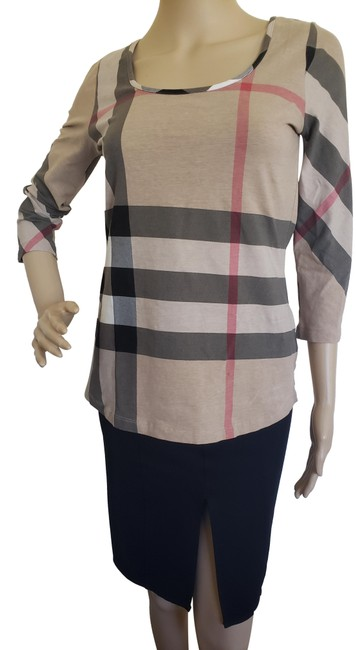 Item - Multicolor Exploded Check Long Sleeve T-shirt Beige Sweater