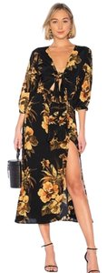 Faithfull the Brand Floral Midi Cutout Tie Button Up Dress