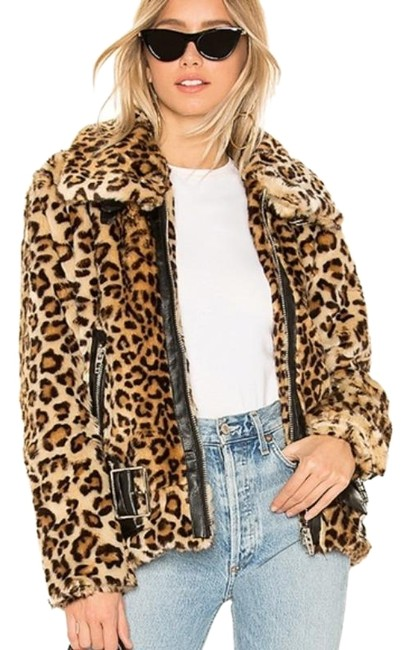 Item - Black Brown Faux Fur Leopard Biker Jacket Size 4 (S)