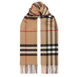 Burberry check cashmere fringed scarf