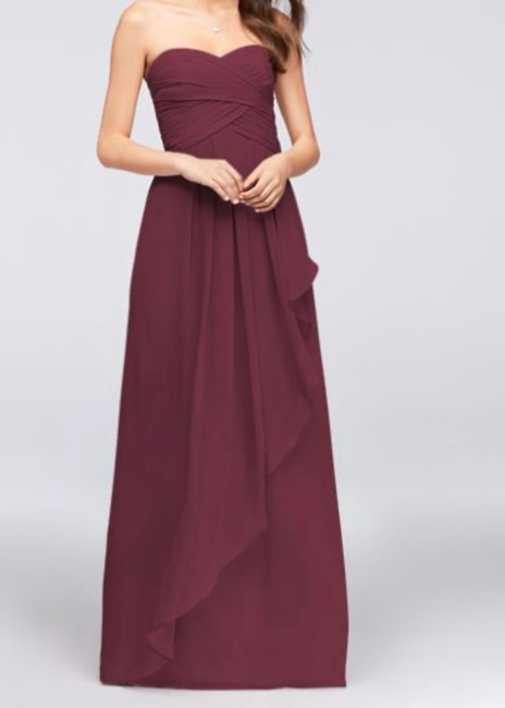 Item - Wine Polyester Strapless Feminine Bridesmaid/Mob Dress Size 8 (M)