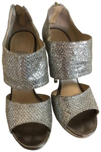 Jimmy Choo Metallic silver and gold Platforms