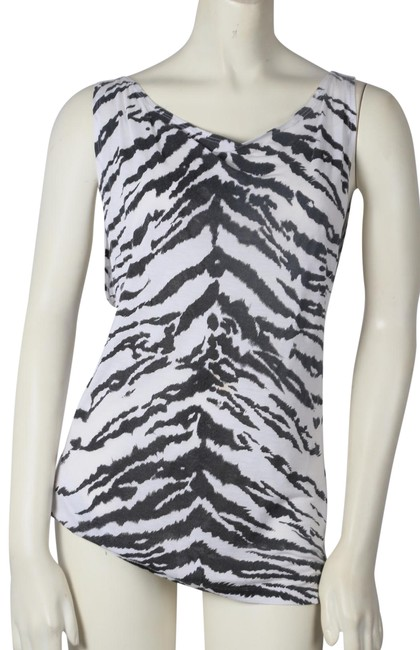Item - Black White Zebra Print Sleeveless Tank Top/Cami Size 6 (S)
