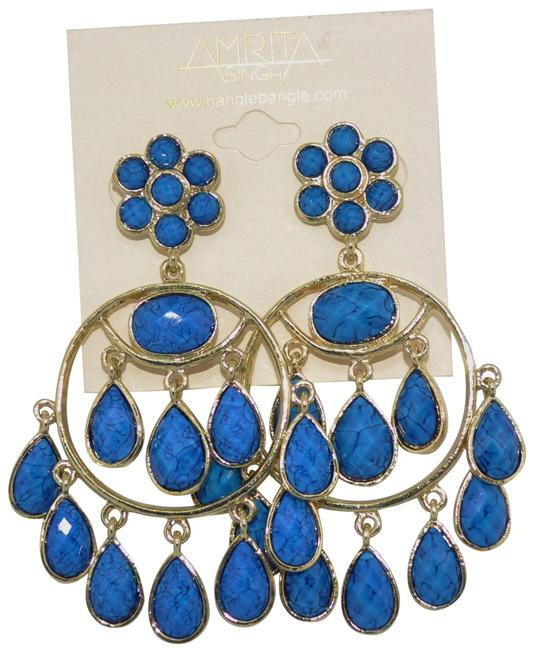 Amrita Singh Lapis Blue Quogue Hamptons & Gold Chandelier Earrings Amrita Singh Lapis Blue Quogue Hamptons & Gold Chandelier Earrings Image 1