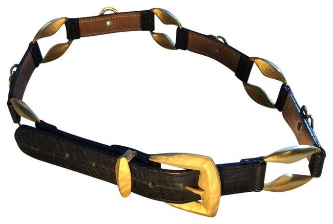 Item - Black Straightahead Leather with Gold Buckle and Trim Number 40330 Belt