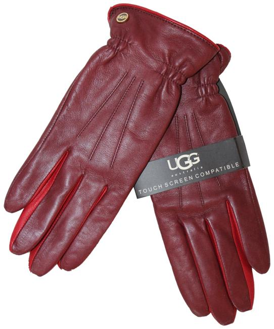 Item - Red Leather Tech Enabled Gloves S