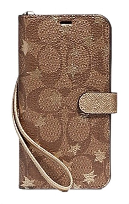 Item - Khaki Brown Gold XS Signature Iphone Max Folio Case with Star Print Tech Accessory