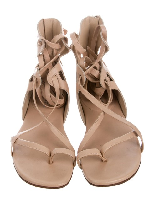 Chanel Nude Tan Leather Gladiator Ankle Wrap Logo Sandals