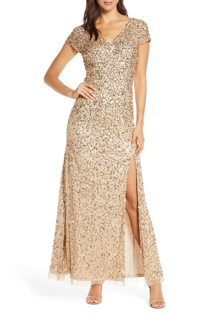 Item - Champagne Gold V-neck Crunchy Beaded Gown Long Formal Dress Size 16 (XL, Plus 0x)