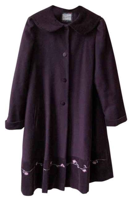 Item - Eggplant Wool and Velvet Insulated Coat Size 14 (L)