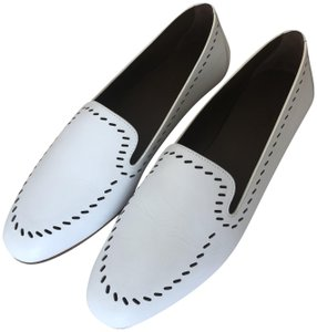 Hermès Loafers Calfskin Leather White Flats