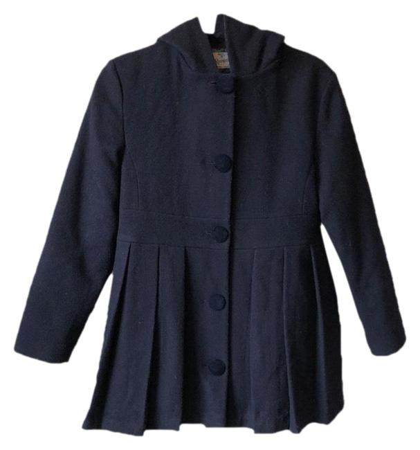 Item - Ink/Midnight Hooded Pleated Wool Coat Size 14 (L)