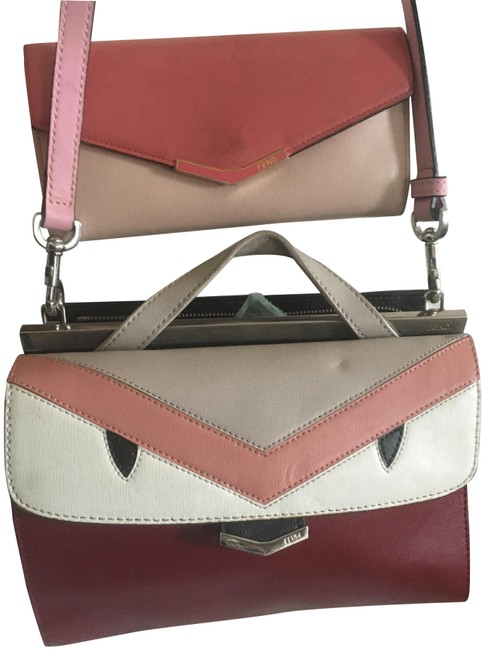 Item - Monster Demi Jour Color Block with Wallet Red Pink and White Leather Cross Body Bag